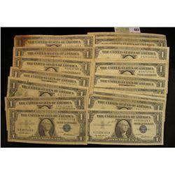 Series 1935A, D, E, (5) 1957, (4) 57A & (8) B U.S. One Dollar Silver Certificates. (20 pcs.)