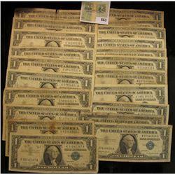 Series 1935A, D, E, (8) 1957, (3) 57A & (6) B U.S. One Dollar Silver Certificates. (20 pcs.)