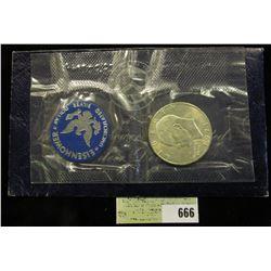 1971 S U.S. Silver Eisenhower Dollar in original blue pack as issued.