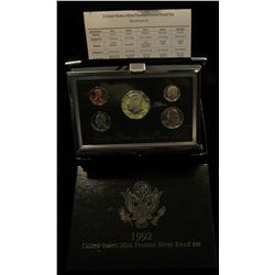 1992 S U.S. Silver Premier Proof Set, Original as issued. A nice attractive set with all coins exhib