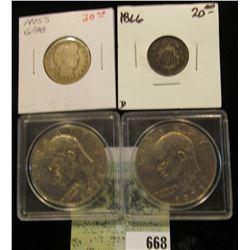 1978 P & D Eisenhower Dollars in Snaptight cases; 1905 S Barber Quarter (scarce date); & 1866 U.S. S