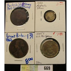 """British Half Penny with """"1805"""" Counterstamp; 1862 Great Britain Large Penny; 1939 Australia Silver T"""
