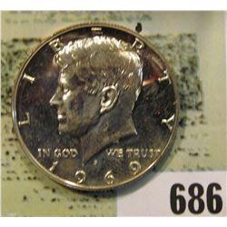 1969 S U.S. Silver Kennedy Half Dollar. Proof