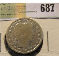1898 S Silver Barber Quarter. Semi-key date.