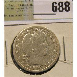 1902 S Silver Barber Quarter. Semi-key date.
