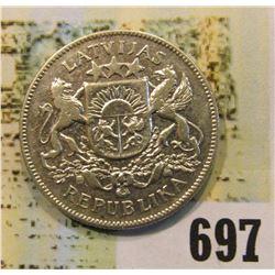 1925 Latvia 2 Lati, .835 fine Silver.