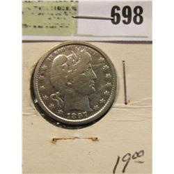 1897 P Silver Barber Quarter. Semi-key date.