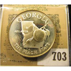"""Georgia The Peach State""  So-called Half-Dollar. Superb Sterling Silver Proof, 32mm, 14.21 grms."