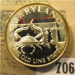 """Maryland  The Old Line State""  So-called Half-Dollar. Superb Sterling Silver Proof, 32mm, 13.69 grm"