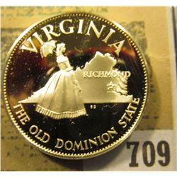 """Virginia The Old Dominion State"" So-called Half-Dollar. Superb Sterling Silver Proof, 32mm, 13.82 g"