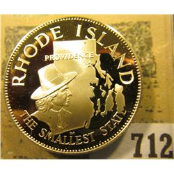 """Rhode Island the Smallest State"" So-called Half-Dollar. Superb Sterling Silver Proof, 32mm, 13.72 g"