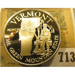 """Vermont the Green Mountain State"" So-called Half-Dollar. Superb Sterling Silver Proof, 32mm, 14 gra"