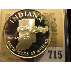 """Indiana Cross Roads of America"" So-called Half-Dollar. Superb Sterling Silver Proof, 32mm, 14.35 gr"