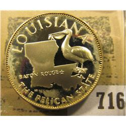"""Louisiana the Pelican State"" So-called Half-Dollar. Superb Sterling Silver Proof, 32mm, 13.46 grams"