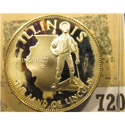 """Illinois the Land of Lincoln"" So-called Half-Dollar. Superb Sterling Silver Proof, 32mm, 14.21 gram"