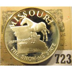 """Missouri the Show-me State"" So-called Half-Dollar. Superb Sterling Silver Proof, 32mm, 13.55 grams."