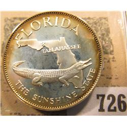 """Florida the Sunshine State"" So-called Half-Dollar. Superbly toned Sterling Silver Proof, 32mm, 13.8"