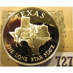 """Texas the Lone Star State"" So-called Half-Dollar. Superb Sterling Silver Proof, 32mm, 13.36 grams."