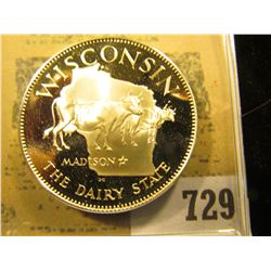 """Wisconsin the Dairy State"" So-called Half-Dollar. Superb Sterling Silver Proof, 32mm, 13.96 grams."