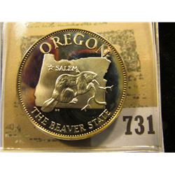 """Oregon the Beaver State"" So-called Half-Dollar. Superb Sterling Silver Proof, 32mm, 13.52 grams."
