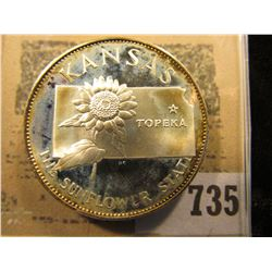 """Kansas The Sunflower State"" So-called Half-Dollar. Superb Sterling Silver Proof, 32mm, 14.00 grams."