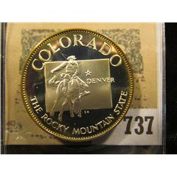 """Colorado the Rocky Mountain State"" So-called Half-Dollar. Superb Sterling Silver Proof, 32mm, 14.64"