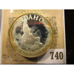 """Idaho the Sun Valley State"" So-called Half-Dollar. Superb Sterling Silver Proof, 32mm, 14.17 grams."