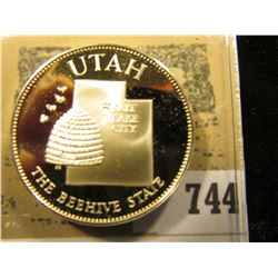"""Utah the Beehive State"" So-called Half-Dollar. Superb Sterling Silver Proof, 32mm, 13.57 grams."