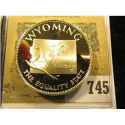 """Wyoming the Equality State"" So-called Half-Dollar. Superb Sterling Silver Proof, 32mm, 13.75 grams."