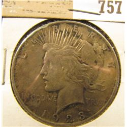 1923 P U.S. Silver Peace Dollar, natural toning.