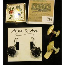 "Hand-carved set of Mother-of-Pearl Cufflinks; ""Anna & Ava"" set of Earrings for pierced ears; & a But"