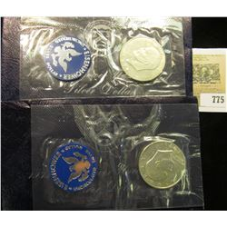 (2) 1971 S Gem BU Silver Eisenhower Dollars in original Blue Packs of issue.