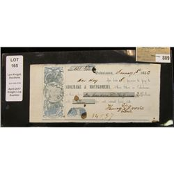 "January 1st, 1856 Pre-Civil War ""Oskaloosa"" (Iowa) Promissory Note drawn on ""Shoemake & Montgomery,"