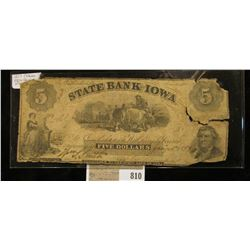 "Jan. 7, 1859 ""Oskaloosa State Bank of Iowa"" Five Dollar Banknote, this is the variety with the backw"
