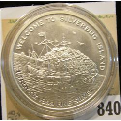 "2016 ""Welcome to Silverbug Island 1 Troy oz..999 Fine Silver"" Depicts a Pirate Ship, Mermaid with ch"