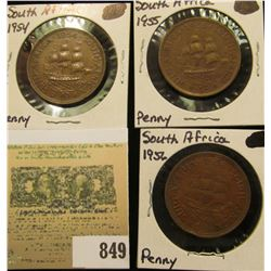 1954, 55, & 56 South Africa Large Pennies. VF-EF.