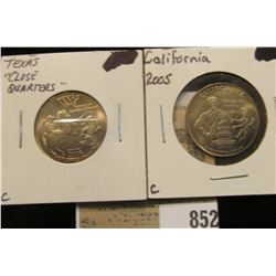 Pair of Facsimile State Quarters, parodies of Arnold Swartzenneger & George W. Bush. Both BU.
