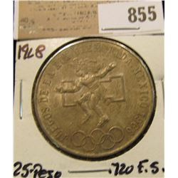 1968 Mexico Silver 25 Peso Olympic Commemorative, .720 fine Silver. lightly toned BU.