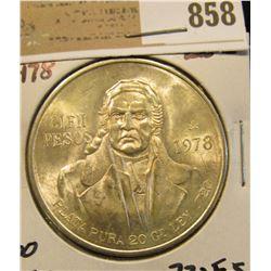 1978 Mexico Silver 100 Peso Commemorative Coin, 20 grams Pure Silver, BU.