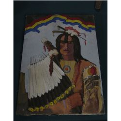 """20"""" x 28"""" Original Oil Painting of an Ioway Indian with feather fan."""