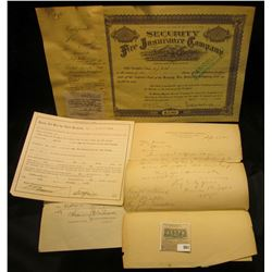 """May 13, 1938 """"Security Fire Insurance Company"""" Stock Certificate for 6 shares of Capital Stock; Feb."""