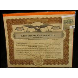 """Sept. 2nd, 1937 Stock Certificate Number 508 for 112 1/2 Shares """"Linograph Corporation Davenport, Io"""