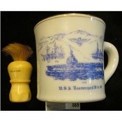 "1946 ""U.S.S. Kearsarge, C.V. A-33 souvenir Shaving Mug with a ""Made Rite U.S.A. Sterilized Set in Ru"