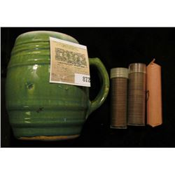 """Green Stoneware Mug, age checkered glazing. """"# 16""""; roll of mixed 1926 P & D Cents; roll of mixed """"S"""