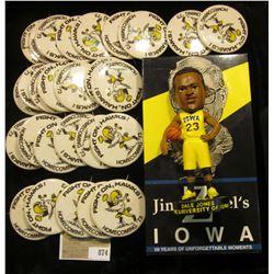 """Jim Zabel's Iowa"" VHS tape; large group of 1973 Homecoming Pin-backs; & ""Dale Jones The University"
