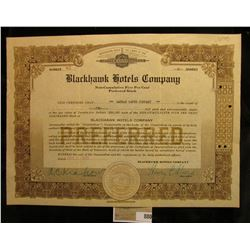 """Number 83 """"Blackhawk Hotels Co.""""Preferred Stock Certificate for 2 shares, notary seal central bottom"""