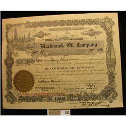 """10/09/22 Two Shares of """"Blackhawk Oil Company"""", Davenport, Iowa. Vignette of Oil derrick upper left."""