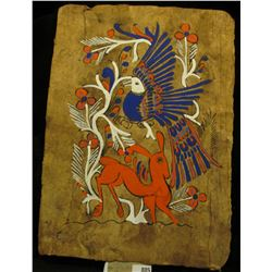 Original Painting on Papyrus type material./ Deer and Peacock motif. Very unusual.
