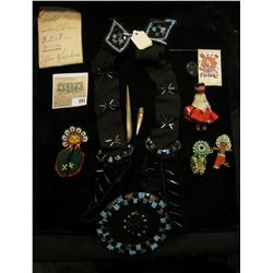 """Abalone Drill, several beaded items, Beaded Belt; & a Bake-a-lite Button """"US Indian Service"""". Comes"""