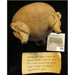 """Ancient Clay Indian Pottery. Story that goes with it """"Pebbles were placed inside the hollow figures"""